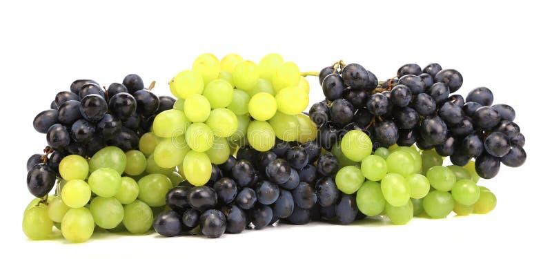 Zwarte en groene rijpe druiven. royalty-vrije stock fotografie
