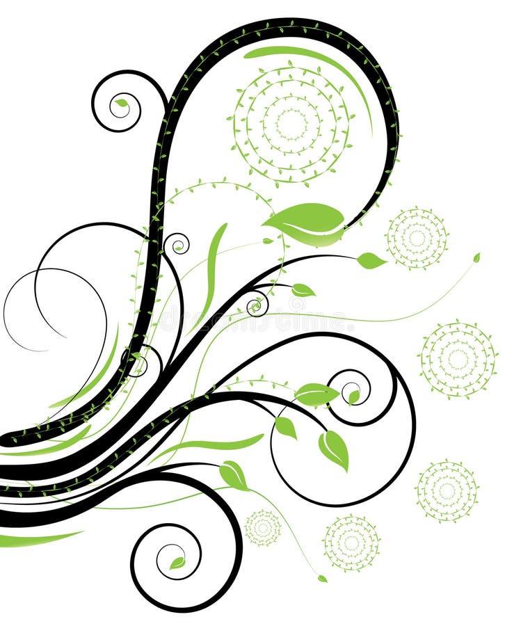 Zwarte en groene wervelingen royalty-vrije stock afbeelding