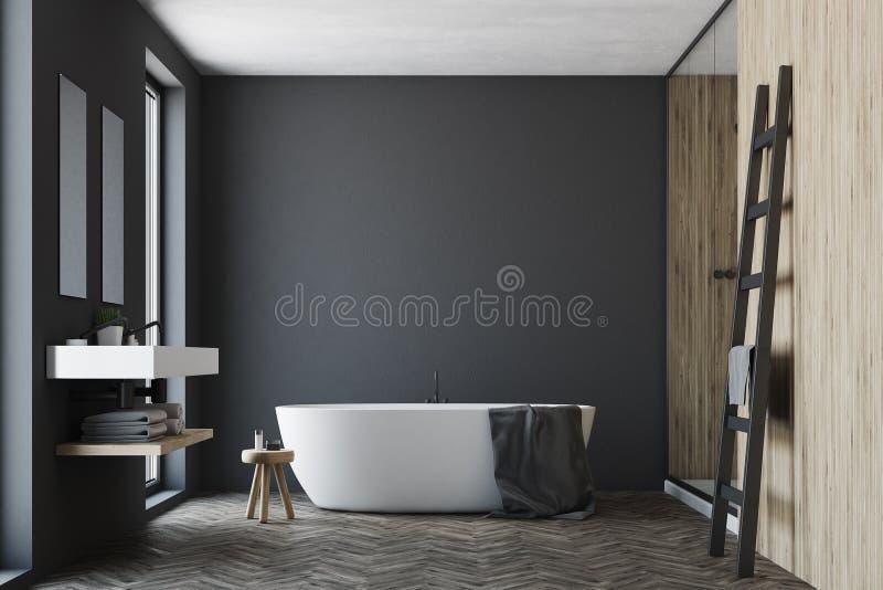 Zwarte en houten badkamers, witte ton stock illustratie