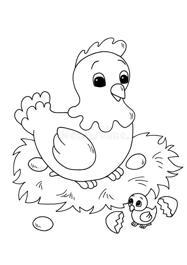 Zwarte en kinderen - kip met kuiken stock illustratie