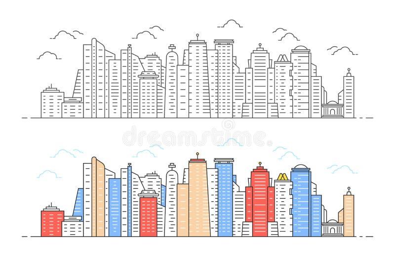 Zwarte en kleuren lineaire moderne stadsmening vector illustratie