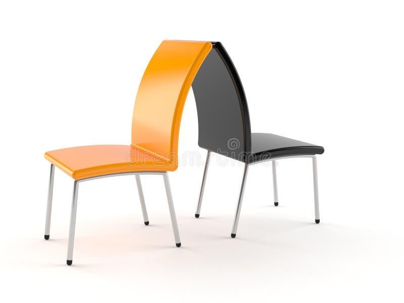 Zwarte en oranje stoelen royalty-vrije illustratie
