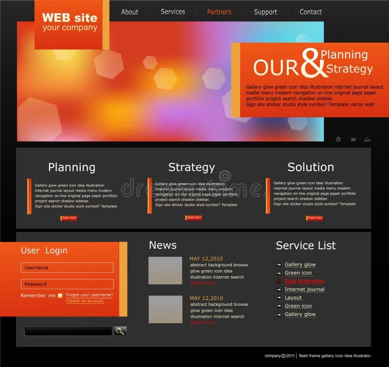 Zwarte en oranje VectorWebsite voor zaken vector illustratie