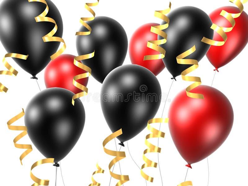 Zwarte en rode ballon royalty-vrije illustratie