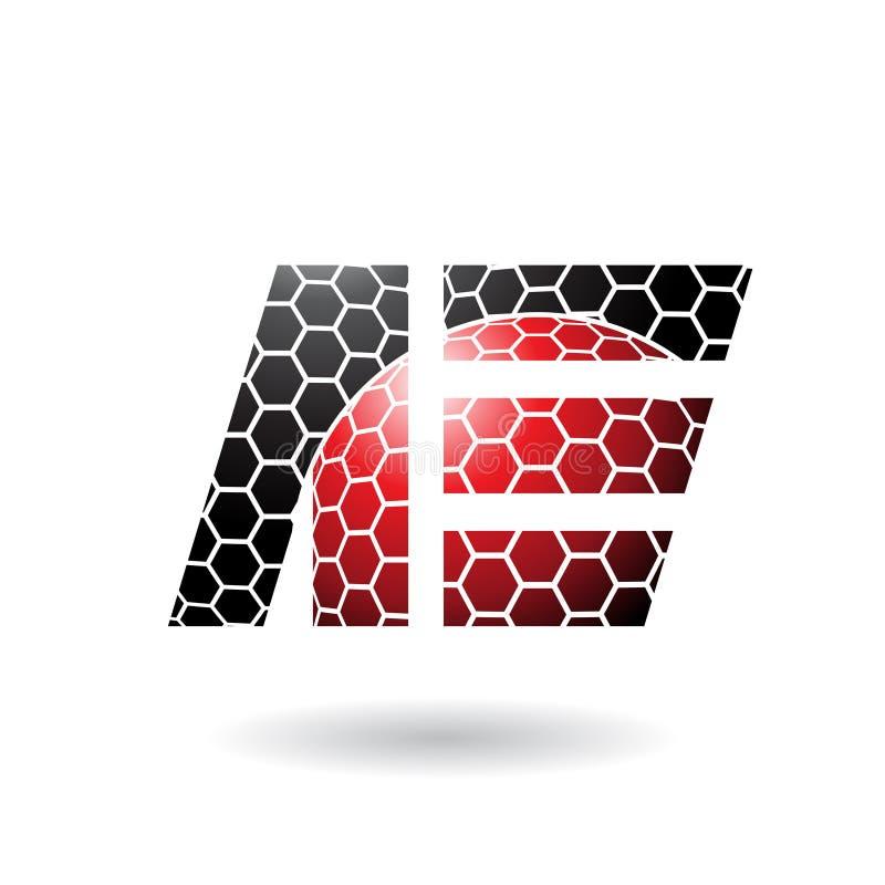 Zwarte en Rode Dubbele die Brieven van A en E met Honingraatpatroon op een Witte Achtergrond wordt geïsoleerd royalty-vrije illustratie