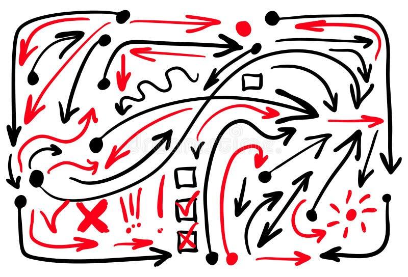 Zwarte en rode gekleurde geplaatste pijlen Vector illustratie die op witte achtergrond wordt geïsoleerdd stock illustratie