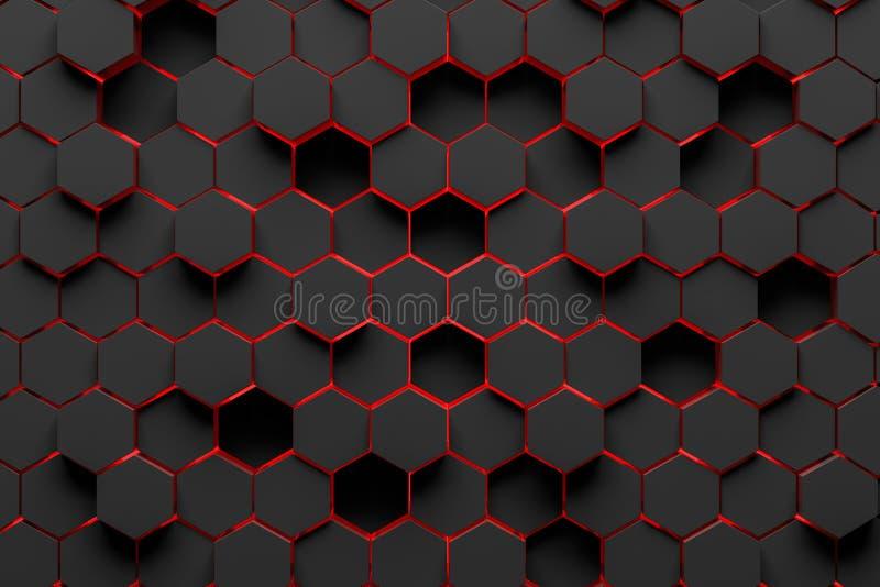 Zwarte en rode hexagon patroonachtergrond vector illustratie