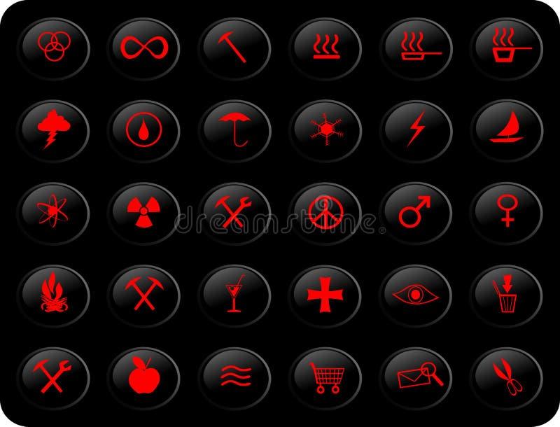 Zwarte en rode knopen vector illustratie