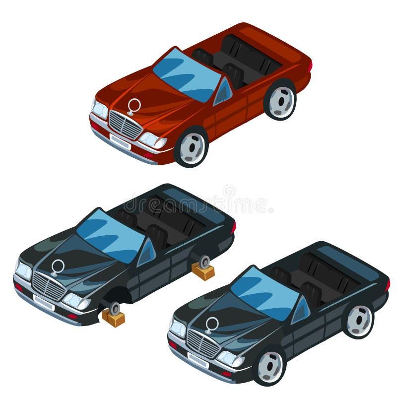 Zwarte en rode sportwagen met open Vector vector illustratie