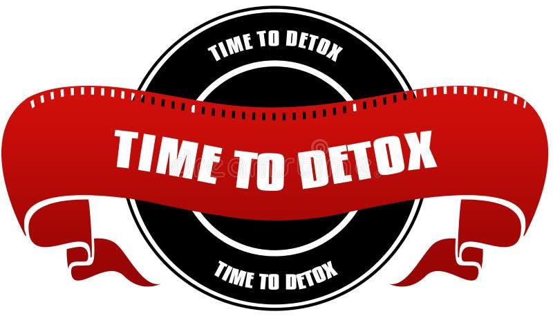 Zwarte en rode TIJD AAN het kenteken en het lint van DETOX vector illustratie