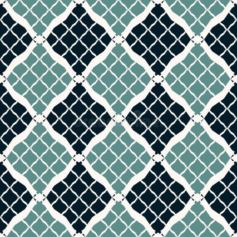 Zwarte en wintertalings geometrisch naadloos patroon in oosterse stijl Diamantnet, netwerk vector illustratie