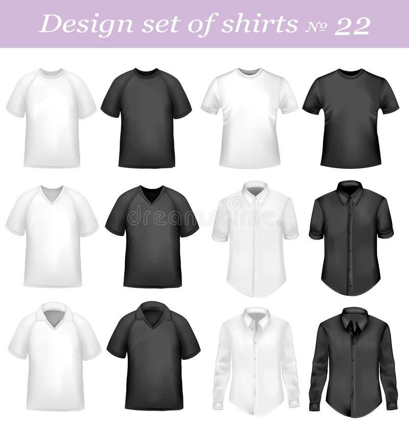 Zwarte, en wit mensenpolo en t-shirts. royalty-vrije illustratie