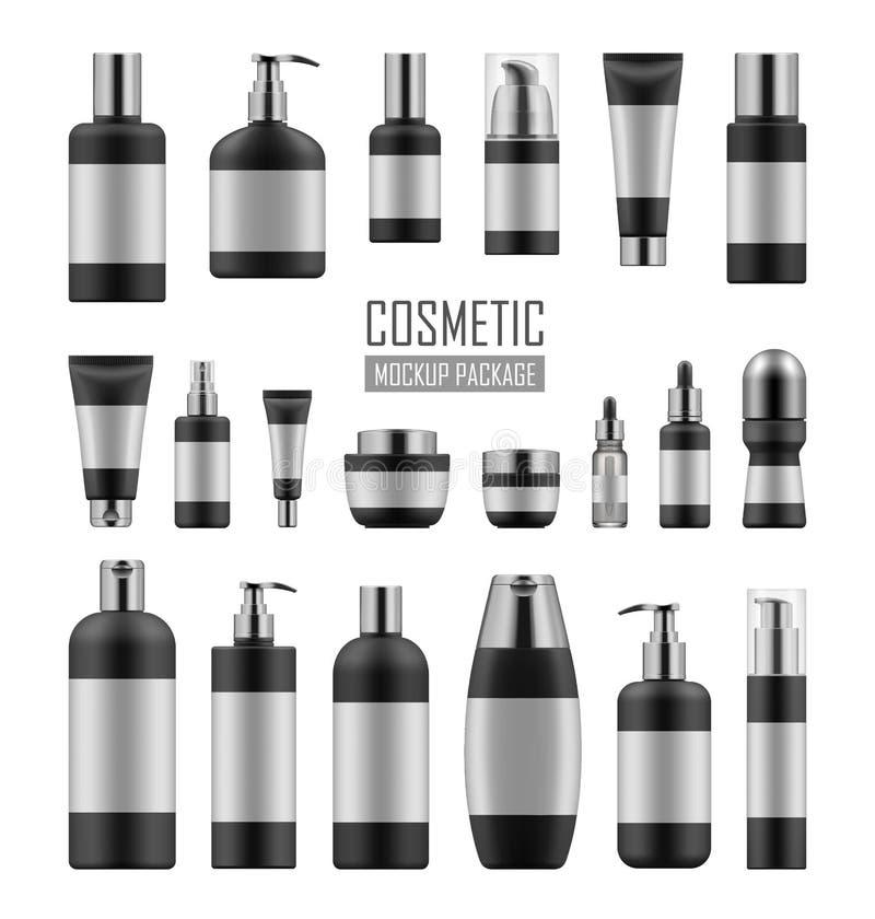 Zwarte en zilveren kosmetische pakketten royalty-vrije illustratie