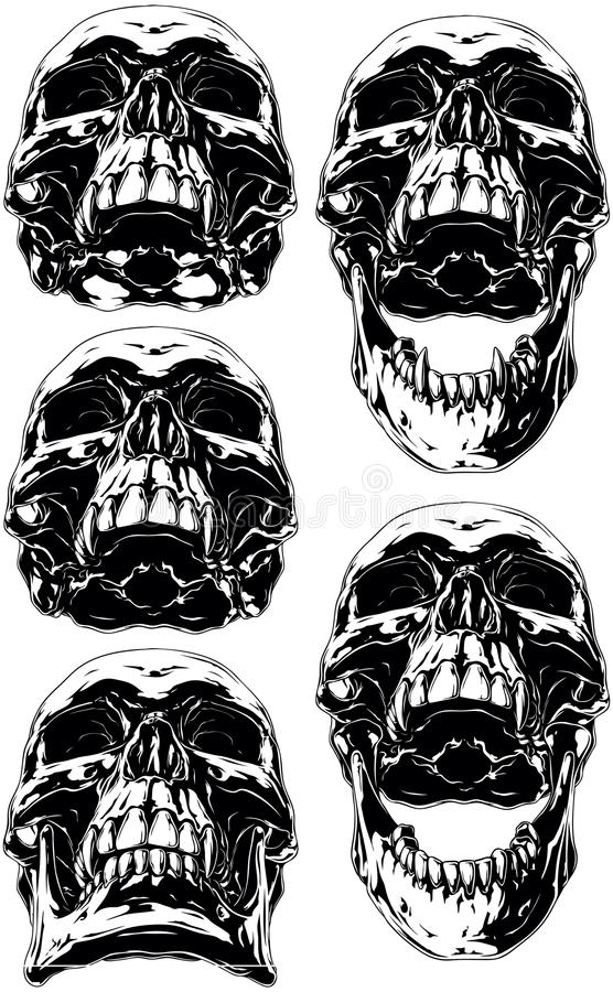 Zwarte enge menselijke schedel met hondstatoegeringsreeks stock illustratie