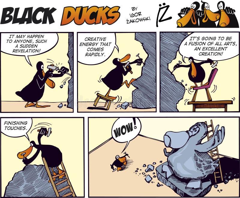Zwarte episode 14 van het Stripverhaal van Eenden stock illustratie