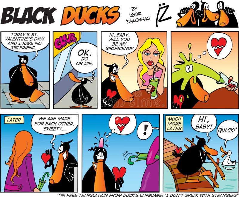 Zwarte episode 39 van het Stripverhaal van Eenden royalty-vrije illustratie