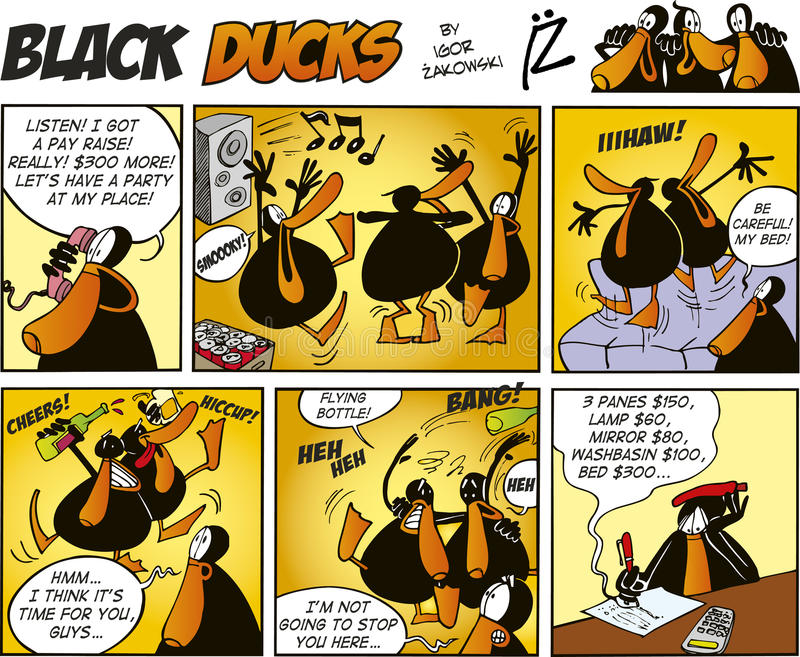 Zwarte episode 47 van de Strippagina van Eenden stock illustratie
