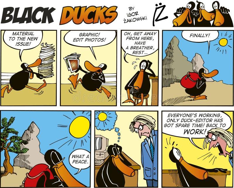 Zwarte episode 54 van de Strippagina van Eenden vector illustratie