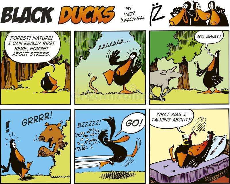 Zwarte episode 58 van de Strippagina van Eenden stock illustratie