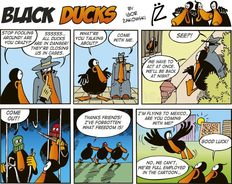 Zwarte episode 60 van de Strippagina van Eenden stock illustratie