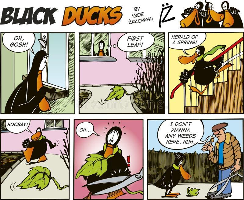 Zwarte episode 61 van de Strippagina van Eenden vector illustratie