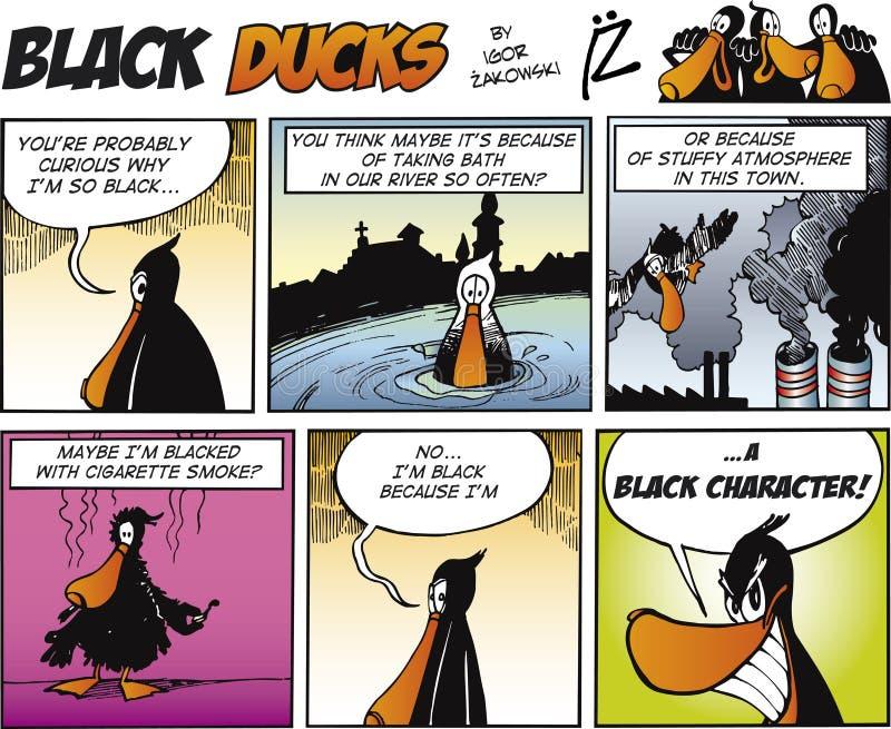 Zwarte episode 67 van de Strippagina van Eenden vector illustratie