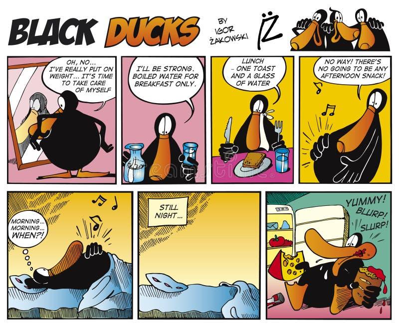 Zwarte episode 7 van het Stripverhaal van Eenden stock illustratie