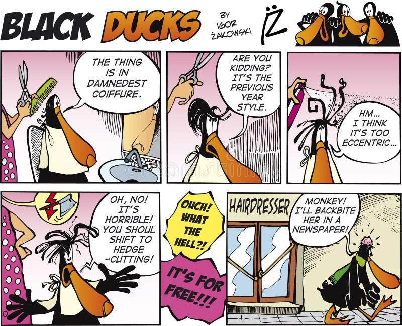 Zwarte episode 9 van het Stripverhaal van Eenden royalty-vrije illustratie