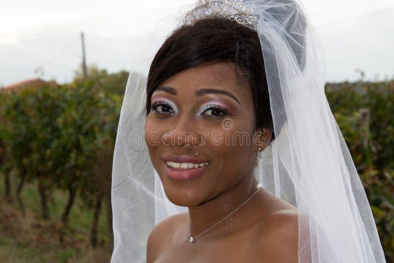 zwarte Etnische Bruid bij het Park royalty-vrije stock fotografie