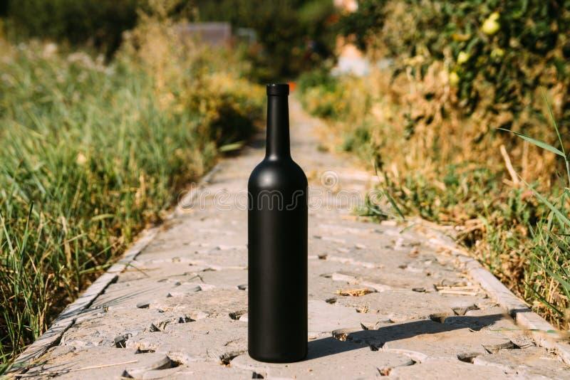 Zwarte fles op de weg van de tegels, het dorp, landelijk alcoholisme, dronkenschap alcoholische ziekte wijn natuurlijke drank Wij royalty-vrije stock foto