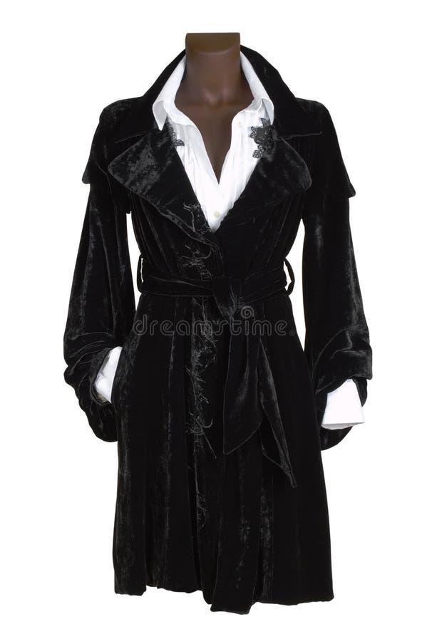 Zwarte fluweelkleding stock foto