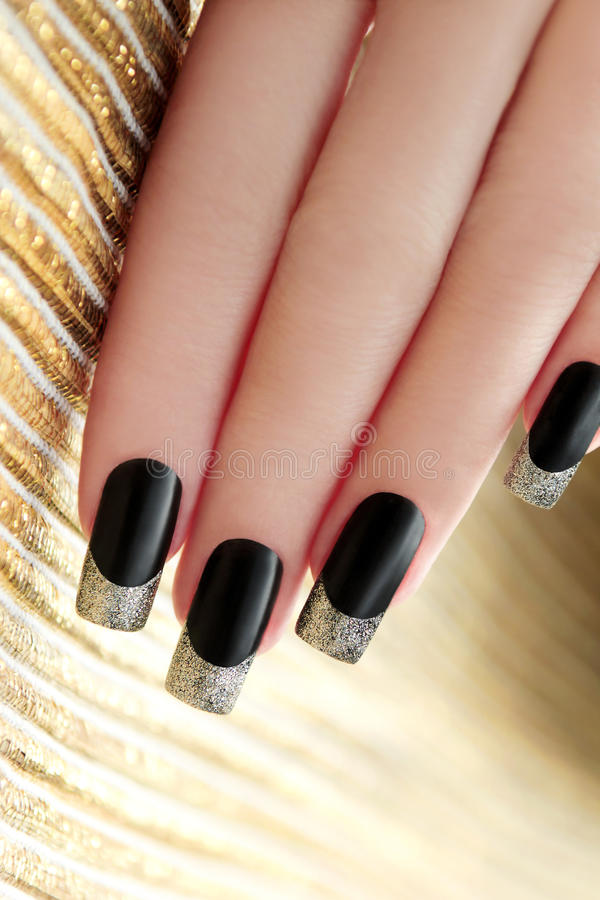 Zwarte Franse manicure royalty-vrije stock fotografie