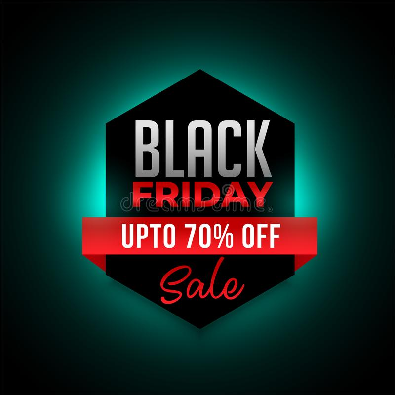Zwarte friday glowing-banner met details over aanbieding vector illustratie