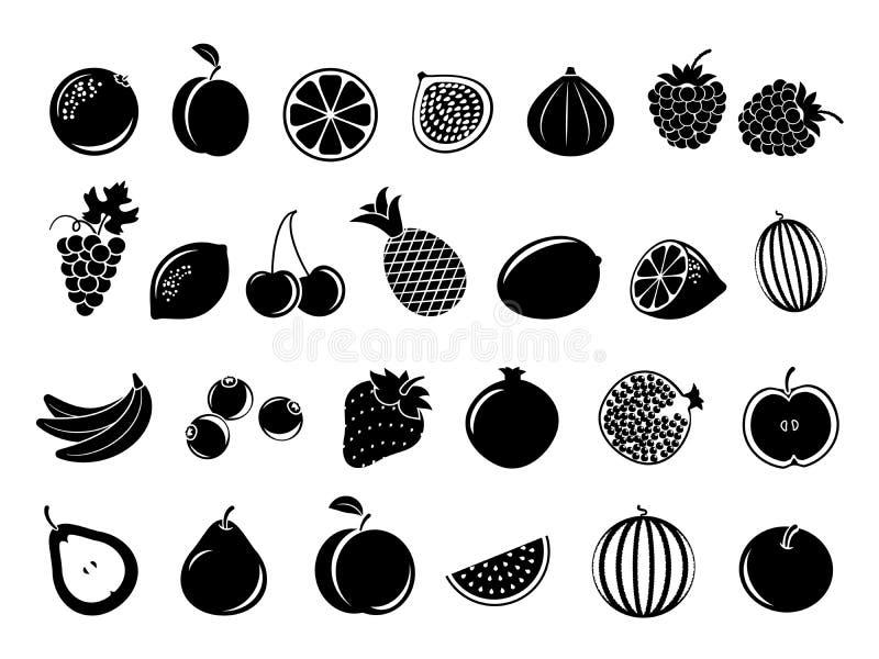 Zwarte fruitpictogrammen vector illustratie