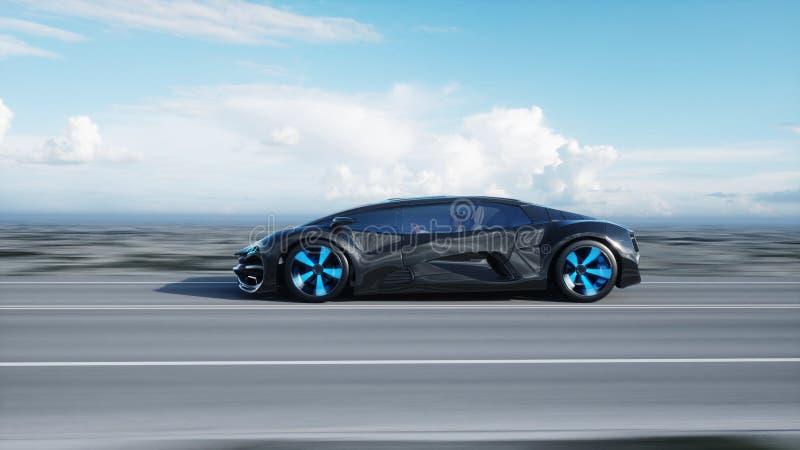 Zwarte futuristische elektrische auto op weg in woestijn Zeer snel drijvend Concept toekomst het 3d teruggeven royalty-vrije illustratie