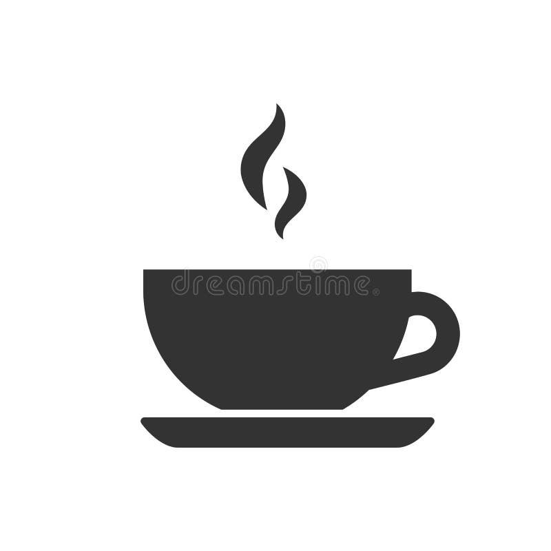 Zwarte geïsoleerd silhouet van theekop op witte achtergrond Pictogram van theekopje vector illustratie