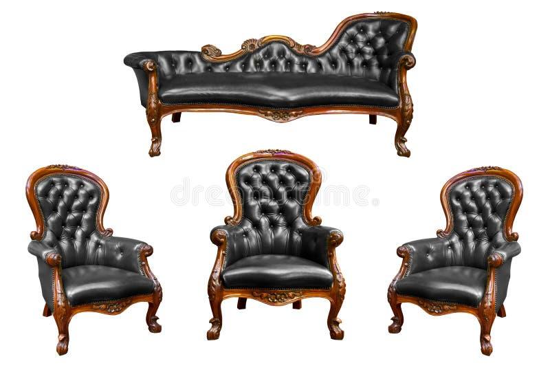 Zwarte geïsoleerde? het leerleunstoel van de luxe royalty-vrije stock afbeeldingen