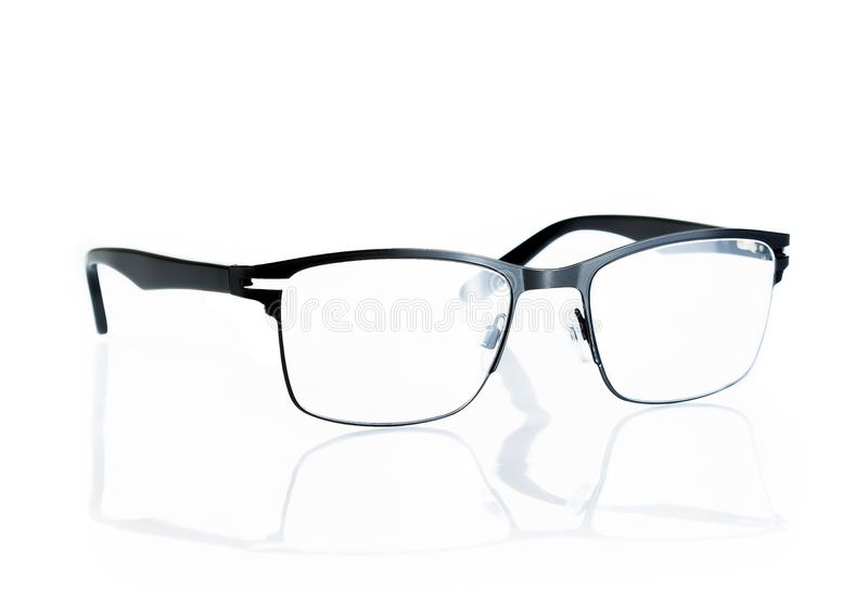 Zwarte geïsoleerde oogglazen stock afbeelding