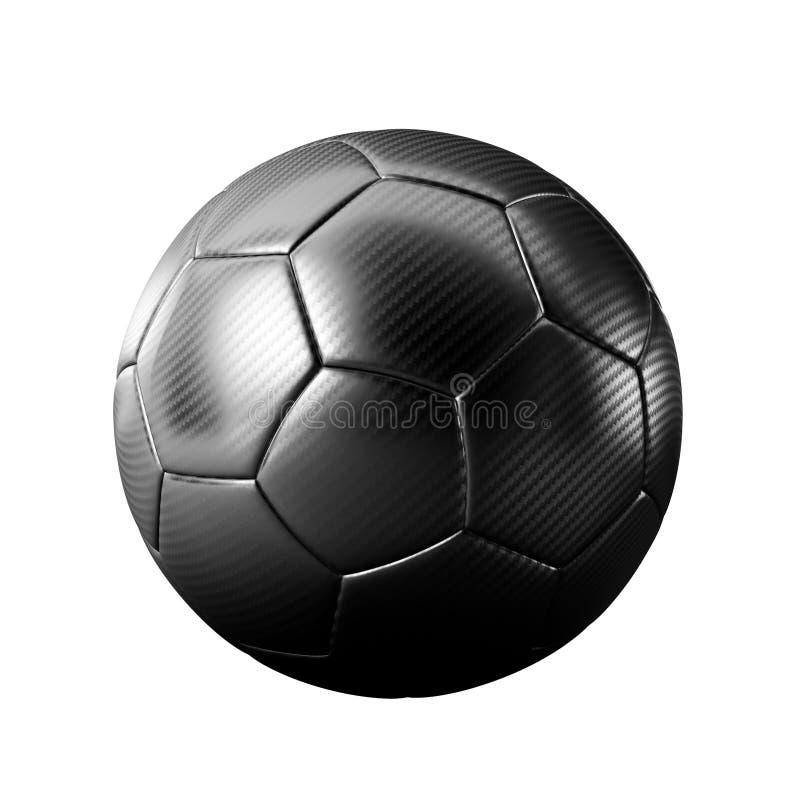 Zwarte geïsoleerde voetbalbal royalty-vrije stock afbeeldingen