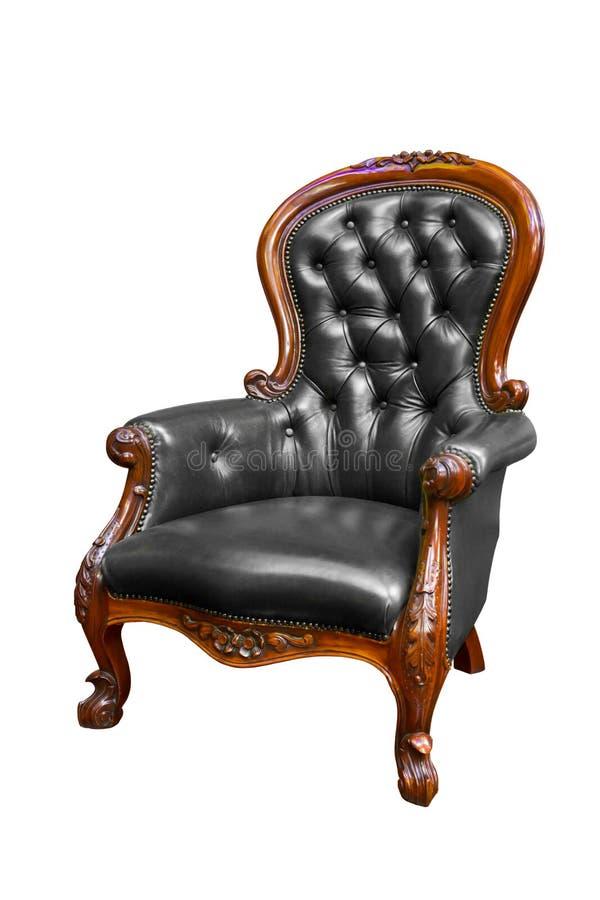 Zwarte geïsoleerdee het leerleunstoel van de luxe royalty-vrije stock afbeelding