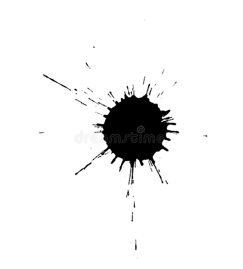 Zwarte geïsoleerdee inktvlekken royalty-vrije stock afbeelding