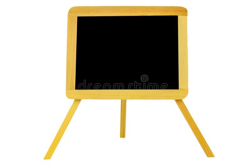 Zwarte geïsoleerdeh raad Close-up van leeg Zwart raad of bord in houten die kader op schildersezel op een witte achtergrond wordt stock afbeelding