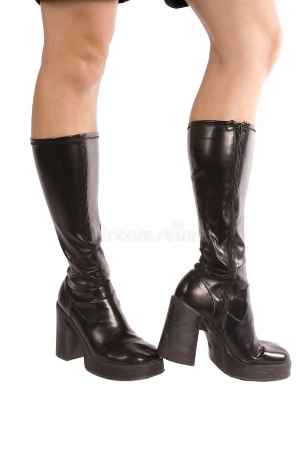 Zwarte geknalde de laarzenknie van de vrouw stock foto