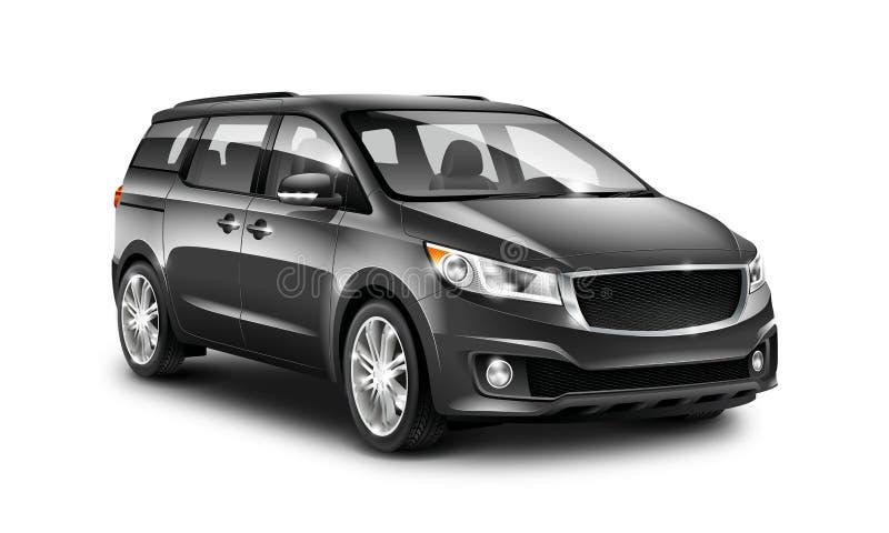 Zwarte Generische Minivan-Auto op Witte Achtergrond De mening van het perspectief 3D Illustratie met Geïsoleerde Weg stock illustratie