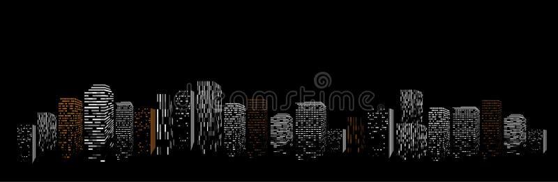 Zwarte geometrische abstracte grote stads vectorillustratie De bouw van de nacht modern stad silhouet, wolkenkrabberkader vector illustratie