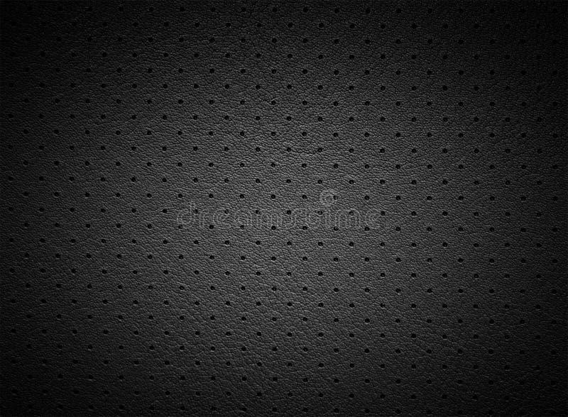 Zwarte Geperforeerde Leer of Huidtextuur met Lichte Vlek royalty-vrije stock foto