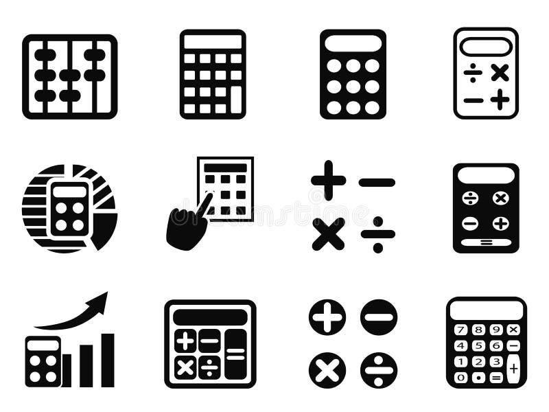 Zwarte geplaatste Calculatorpictogrammen vector illustratie