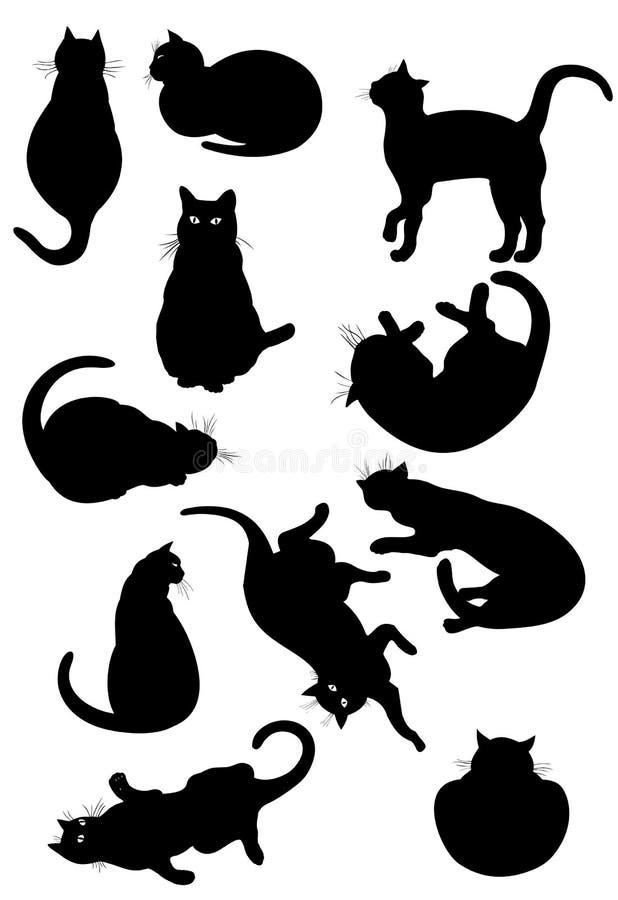 Zwarte geplaatste kattensilhouetten stock illustratie