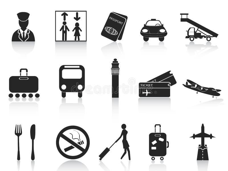 Zwarte geplaatste luchthavenpictogrammen vector illustratie
