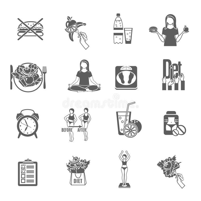Zwarte geplaatste pictogrammen van het gewichts de losse dieet stock illustratie